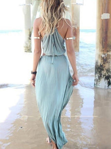 Pretty Sexy Strapes V Neck Sleeveless Off-Shoulder Loose Beach Maxi Dress