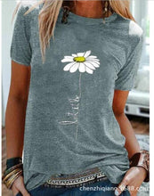 Load image into Gallery viewer, Summer New Casual Small Fresh Chrysanthemum Print Short-sleeved T-shirt