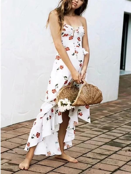Vacation Style Hanging Neck Low-cut Dress Floral Long Dress