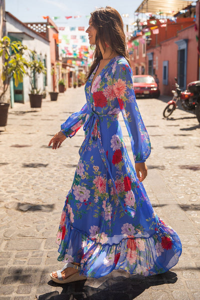 Autumn and Spring Long Sleeve Floral Dress Printed with Blue Waist Showing Thin Bandage Dress