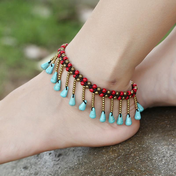 New Turquoise Water Drop Pendant Beach Anklet Thai Wax Line Handmade Woven Bohemian Footwear