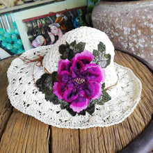 Load image into Gallery viewer, Yunnan ethnic style fashion embroidered hat visor three-dimensional flower embroidery cap folding cap