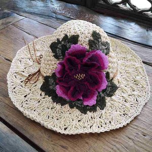 Yunnan ethnic style fashion embroidered hat visor three-dimensional flower embroidery cap folding cap