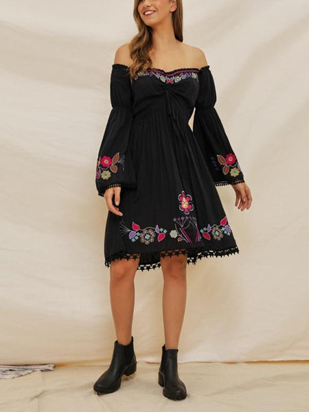 Embroidered Word Shoulder Lace Stitching Trumpet Sleeve Bohemian Holiday Dress