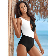 Load image into Gallery viewer, Contrast Color Hollow One-piece Swimsuit