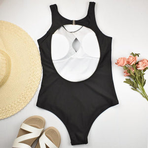 Contrast Color Hollow One-piece Swimsuit