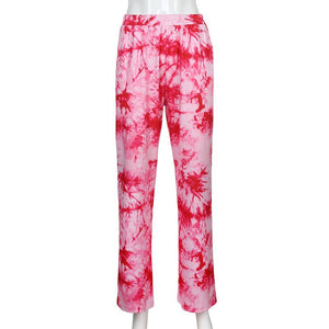Women's Pink Purple Tie-Dye Casual Wide Leg Pants