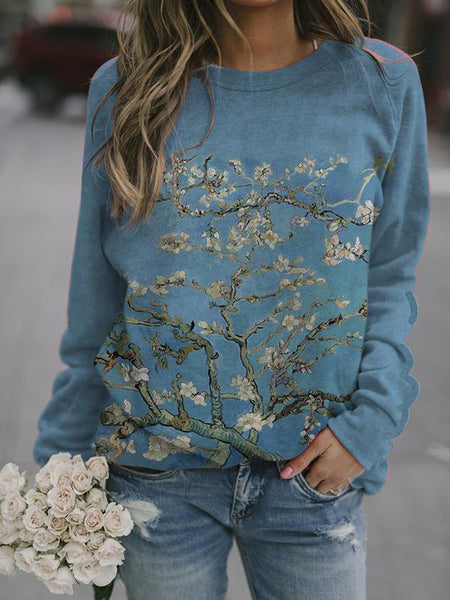 Women's Flower Painting Print Sweatshirt