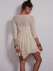 Two Color Long-sleeved lace skirt dress