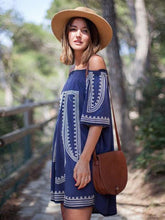 Load image into Gallery viewer, Off the Shoulder Blue Pattern Mini Bohemia Beach Dress