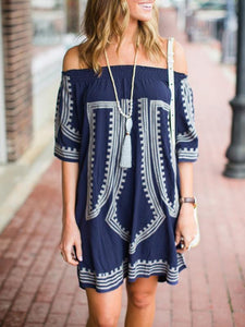 Off the Shoulder Blue Pattern Mini Bohemia Beach Dress