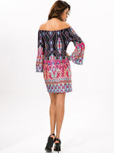 Load image into Gallery viewer, Beautiful Floral Bohemia Off Shoulder Long Trumpet Sleeve Bodycon Mini Dress
