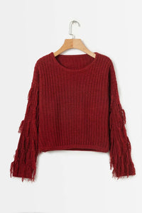 Solid Color Round Neck Long Sleeve Tassel Sweater