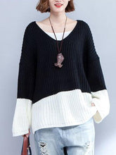Load image into Gallery viewer, Casual V-Neck Stitching Color Sweaters For Women