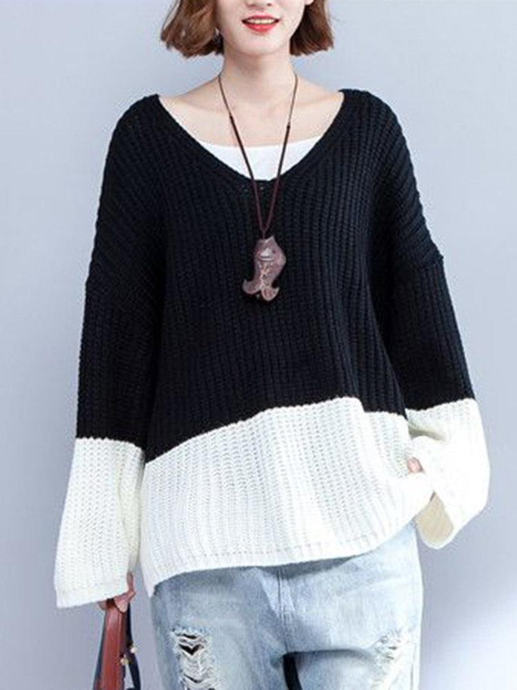 Casual V-Neck Stitching Color Sweaters For Women