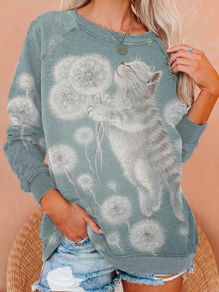 Ladies cat Dandelion Print Crew Neck Sweatshirts