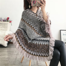 Load image into Gallery viewer, National Hood Shawl Knitted Spring and Summer Jacket Horse Sea Hair Tassel Scarf Coat Women Long Shawl Leisure