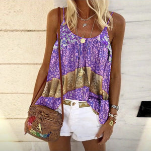 Summer New Product Loose Print Camisole Vest Top