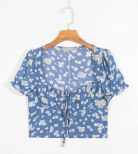 Load image into Gallery viewer, New Printed Short-sleeved Sexy Lace-up Shirt In Summer