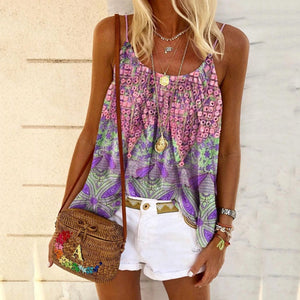New Women's Summer Print Loose Sling Top