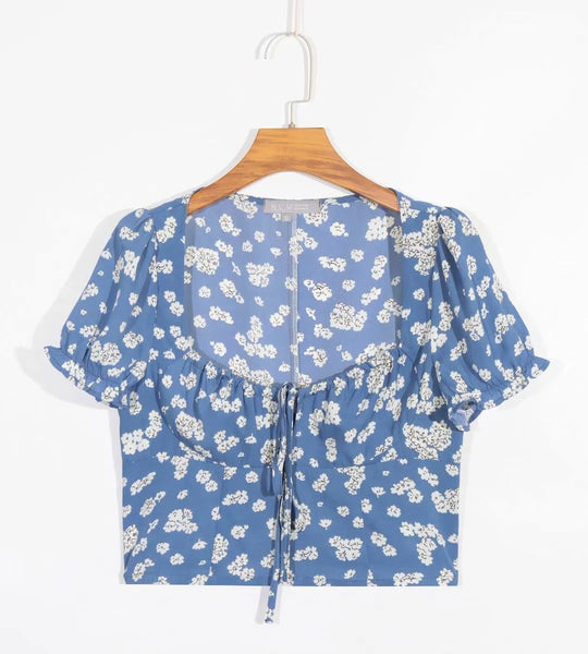 New printed short-sleeved sexy lace-up shirt in summer