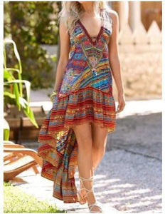New Bohemian Color Printing Irregular Hem Dress