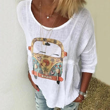 Load image into Gallery viewer, Summer Women Cotton Fawn Print Casual Loose Five-point Sleeve T-shirt