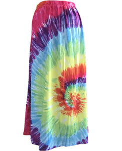 Fashion Tie-dye Colorful Swirl Print Elastic Loose Waist Midi Skirt