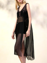 Load image into Gallery viewer, Fashion Delicate embroidered beaded sexy V-shaped backless dress holiday vest skirt