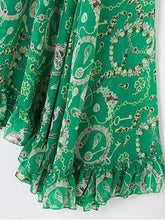 Load image into Gallery viewer, Bohemia Chiffon Green Flared Sleeves V-neck Maxi Dress