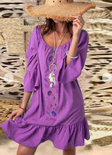 Load image into Gallery viewer, New Big Round Neck Embroidered Lantern Sleeve Dress