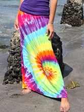 Load image into Gallery viewer, Fashion Tie-dye Colorful Swirl Print Elastic Loose Waist Midi Skirt