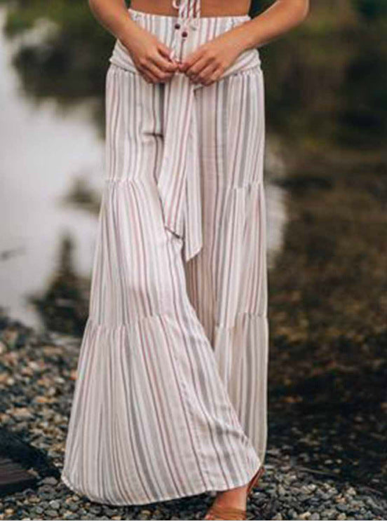 New Lace-up Striped Print Stitching Wide-leg Flared Trousers