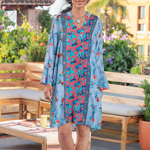 Bohemian Women's V-neck Print Dress