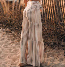 Load image into Gallery viewer, New Lace-up Striped Print Stitching Wide-leg Flared Trousers