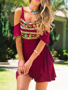New Off-shoulder Short-sleeved Printed Mini Dress