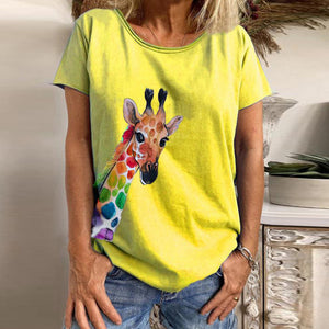 Women's V-neck Deer Head Print Short Sleeve T-shirt