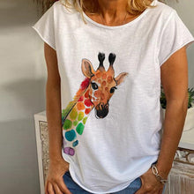 Load image into Gallery viewer, Women's V-neck Deer Head Print Short Sleeve T-shirt