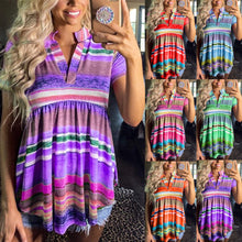 Load image into Gallery viewer, Summer Women's Rainbow Striped Gradient Short-sleeved T-shirt