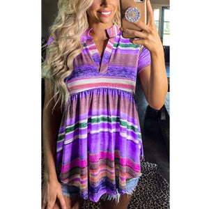 Summer Women's Rainbow Striped Gradient Short-sleeved T-shirt