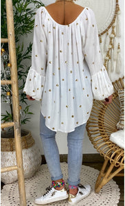 New Women's Loose Lantern Sleeve Hollow V-neck Blouse