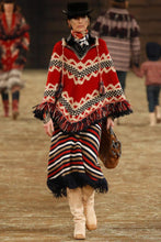 Load image into Gallery viewer, Oversized Folk Style Tassels Red Jacquard Christmas Cloak