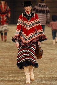 Oversized Folk Style Tassels Red Jacquard Christmas Cloak