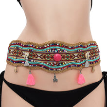 Load image into Gallery viewer, Fashion handmade girdle Bohemian retro national wind elastic adjustable belt ladies elastic waist in autumn and winter