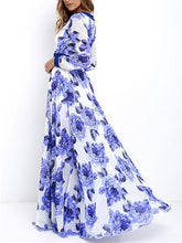 Load image into Gallery viewer, Floral Printed Deep V-neck Long Sleeves Maxi Dress