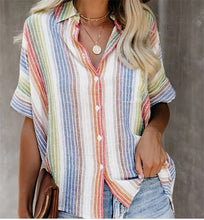 Load image into Gallery viewer, Fashion Casual Color Striped Shirt Button Short Sleeve Shirt