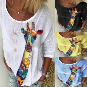 Summer Women Cotton Fawn Print Casual Loose Five-point Sleeve T-shirt