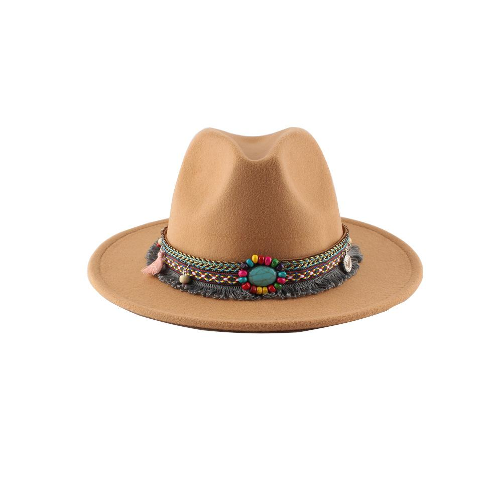 Retro Ethnic Style Flat-edge Jazz Woolen Top Hat