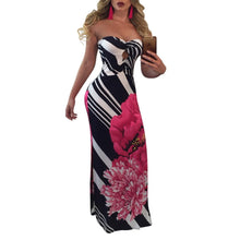Load image into Gallery viewer, Sexy Printed Strapless Blackless Side Split Bodycon Maxi Long Dress