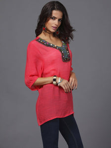 Pretty Bohemia Half Sleeve V Neck Embroidery Blouse Tops